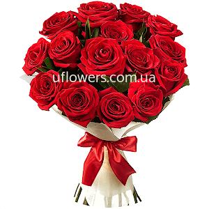 Красные розы 15 шт.