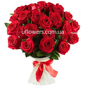 Красные розы 21 шт. с доставкой в Киеве