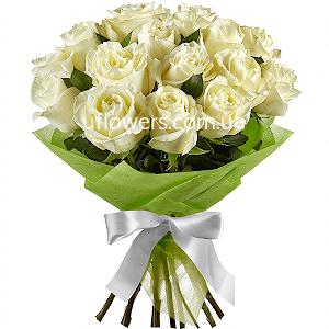 Белые розы 15 шт.