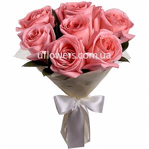 Розовые розы 7 шт.