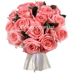 Розовые розы 15 шт.