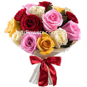 Разноцветные розы 15 шт.