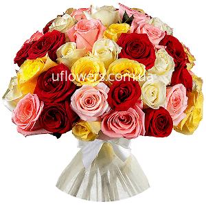Разноцветные розы 35 шт.