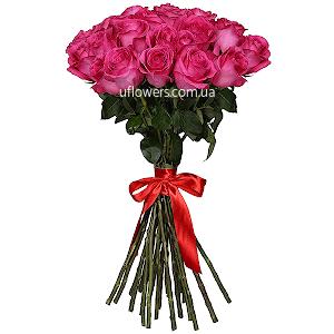 Розовые розы элитные 25 шт.