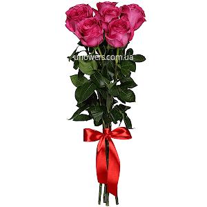 Розовые розы элитные 7 шт.