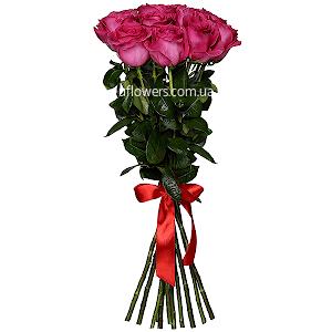 Розовые розы элитные 11 шт.