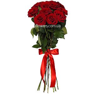Красные розы элитные 11 шт.