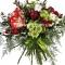 Амариллис - 1, хризантема кустовая грин лизард - 2, Роза Дэвида Остина (пионовидная) - 3, Ваксфловер, Эвкалипт парвифолия, Аспарагус сетацеус, Хлопок 1 ветка, Лента